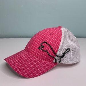 PUMA Pink & White Plaid Adjustable Baseball Cap